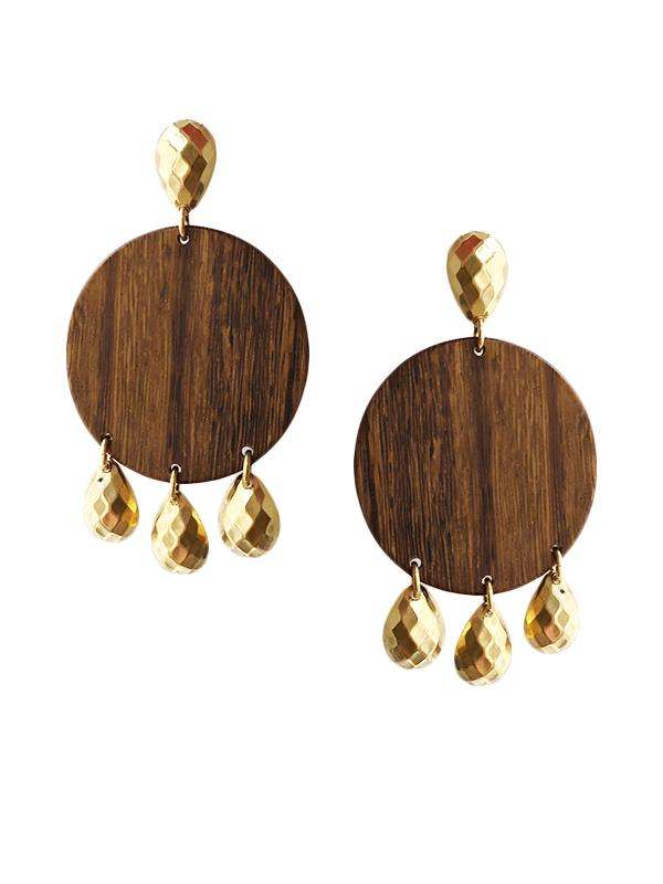 Wood Drop Clip On Earrings