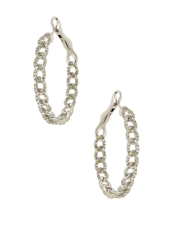 Diamond Link Hoop Earrings