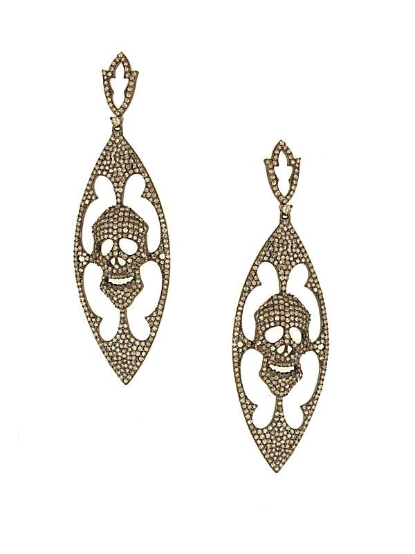 SALE Diamond Skull Drop Earrings