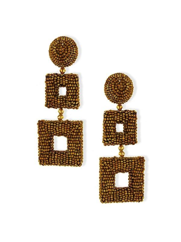 SALE Beaded Square Clip On Earrings