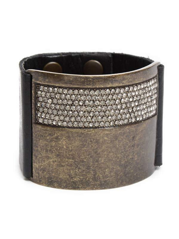 Crystal & Leather Wide Cuff