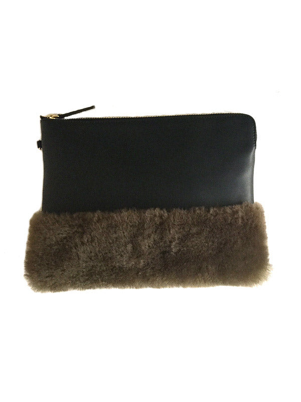 Leather & Fur Clutch