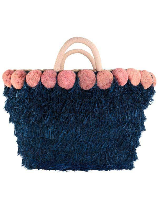 Pink & Blue Straw Tote