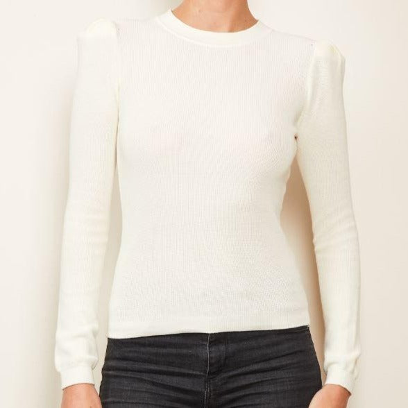 Ivory Puff Shoulder Sweater