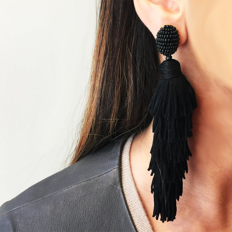 Layered Tassel Clip On Earrings
