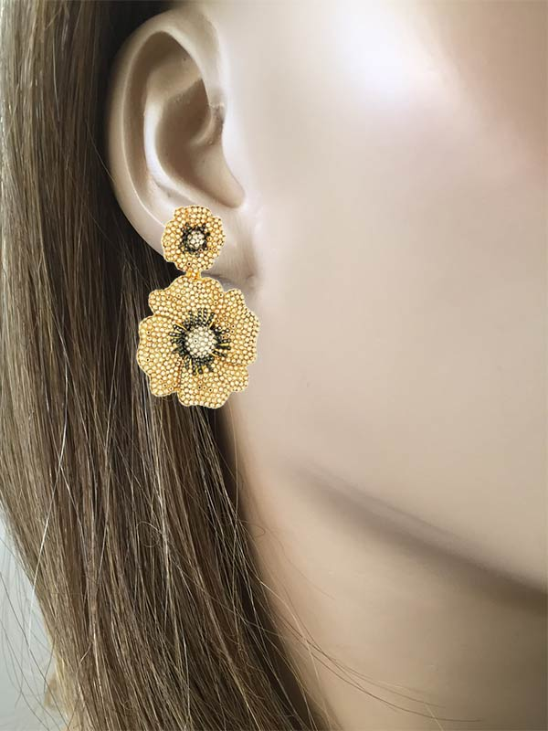 Double Flower Clip On Earrings