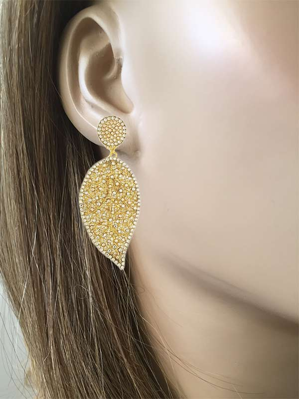 Mesh Leaf Clip On Earrings