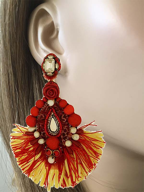 Fringe Clip On Earrings