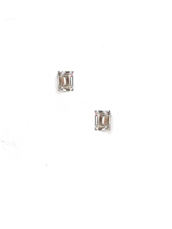Emerald Cut Stud Earrings