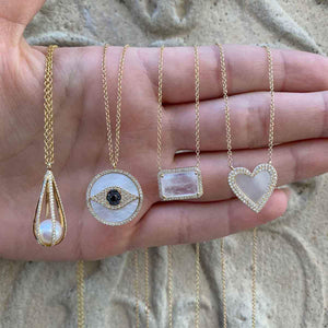 Diamond & Pearl Heart Necklace