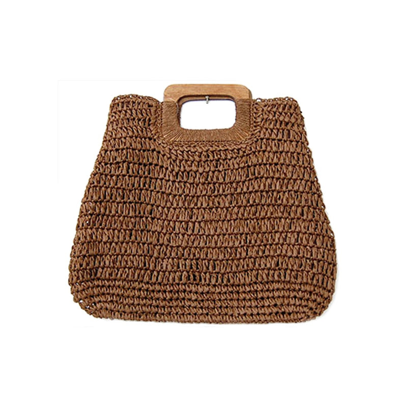 Straw Wooden Handle Bag