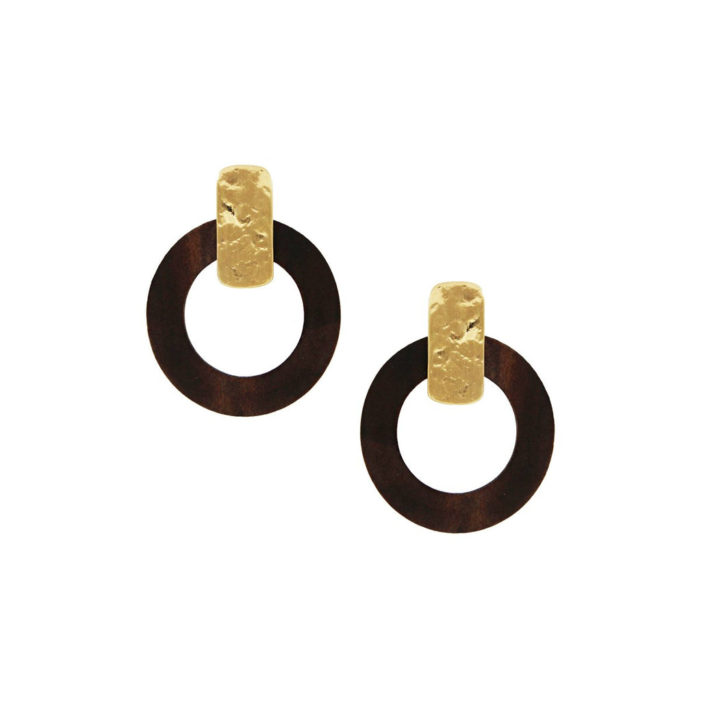 SALE Wood Hammered Earrings