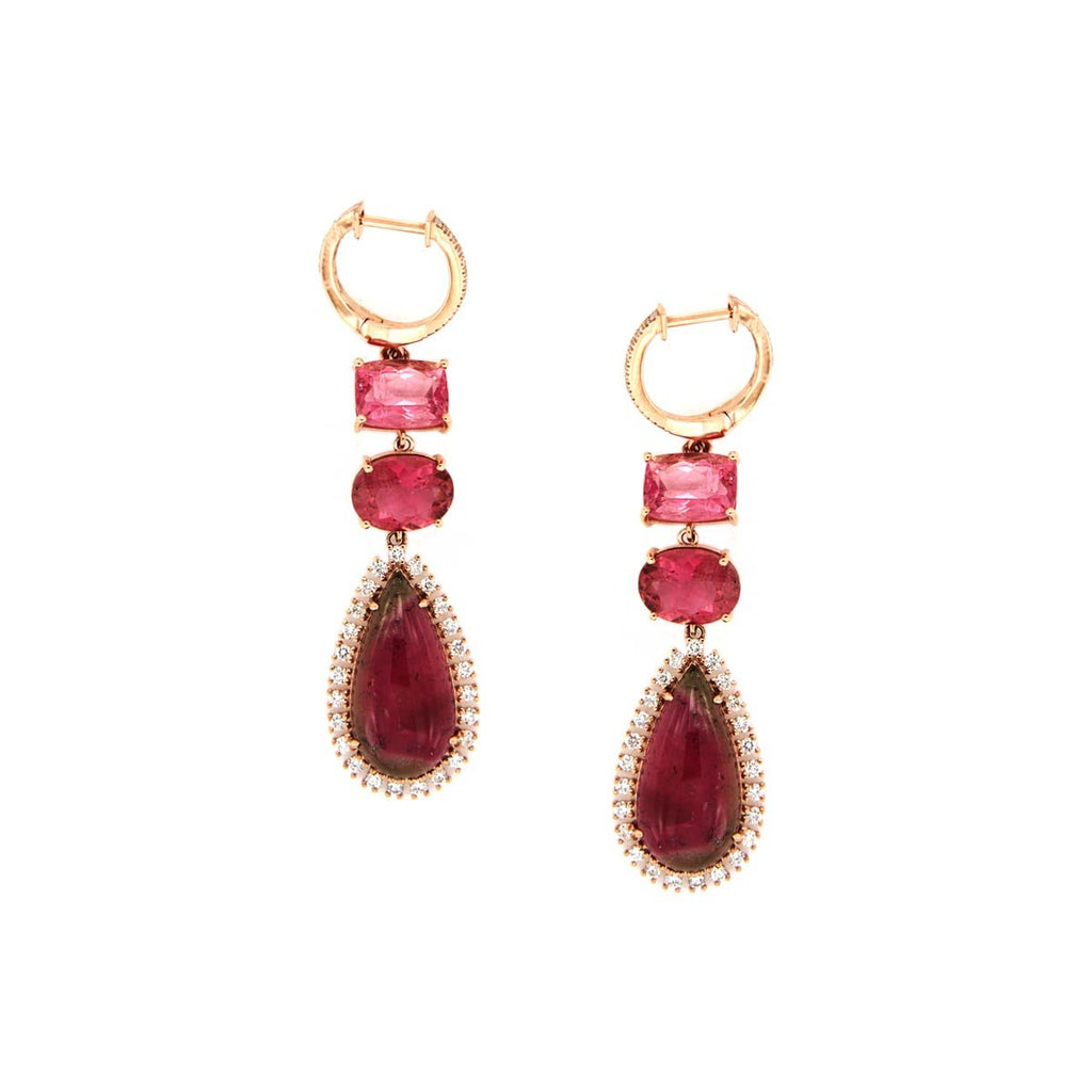 SALE Tourmaline Diamond Earrings
