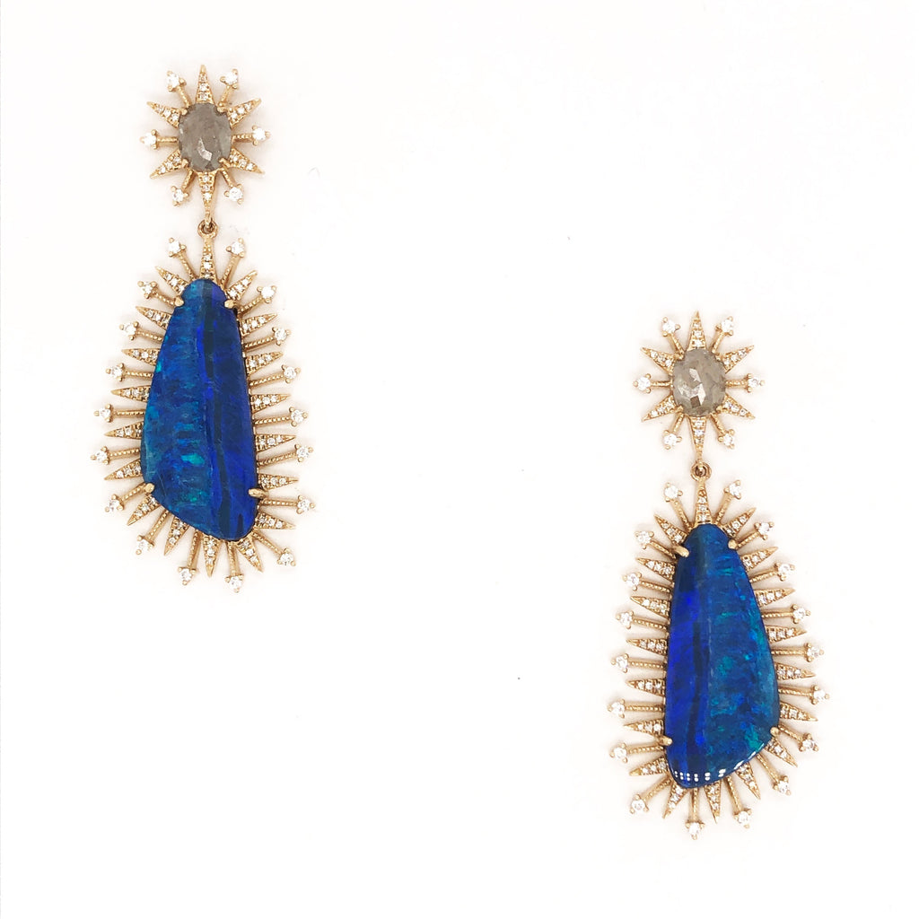 Diamond Opal Spike Earrings
