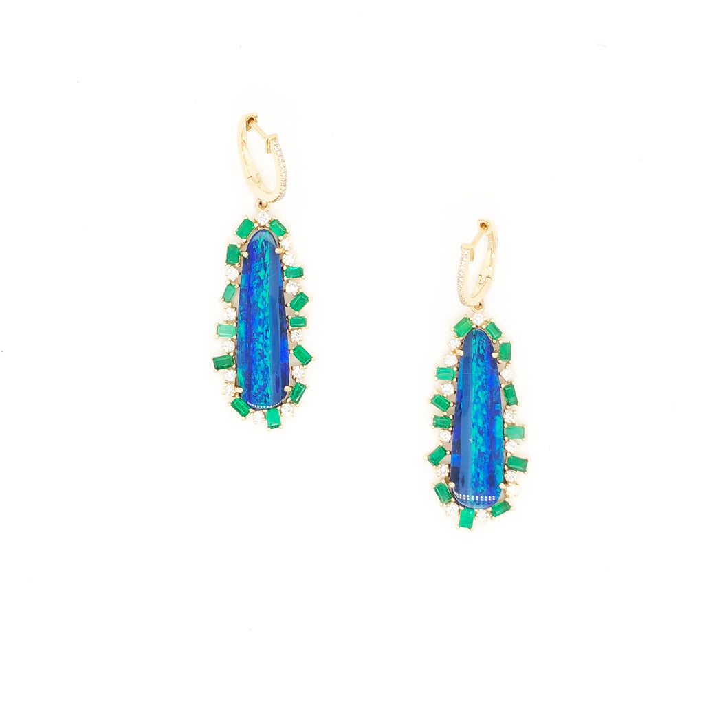 Emerald Opal Drop Earrings
