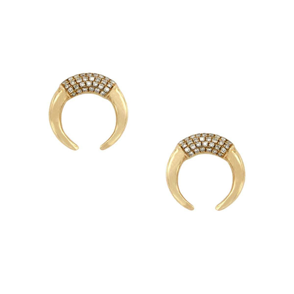 SALE Diamond Crescent Stud Earrings