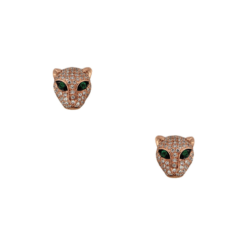Emerald & Diamond Panther Stud Earrings