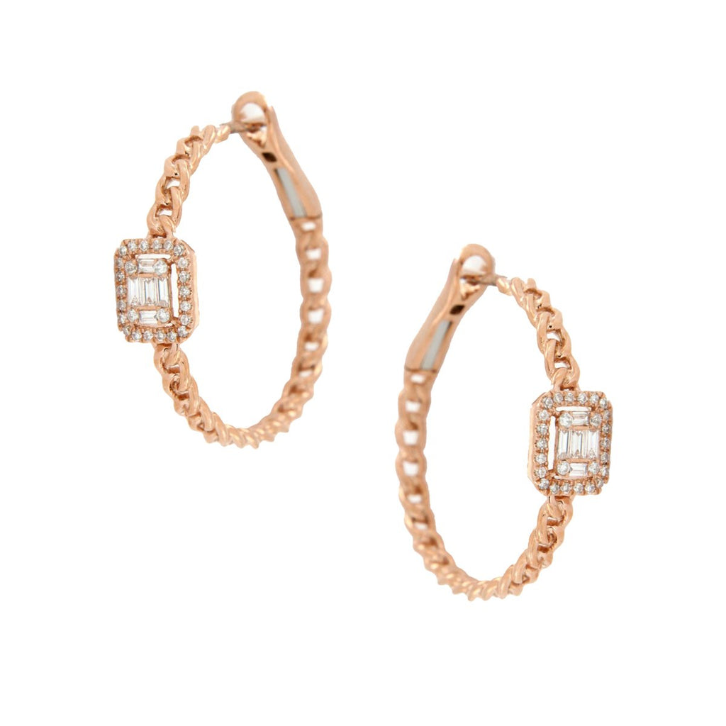 SALE Diamond Hoop Earrings