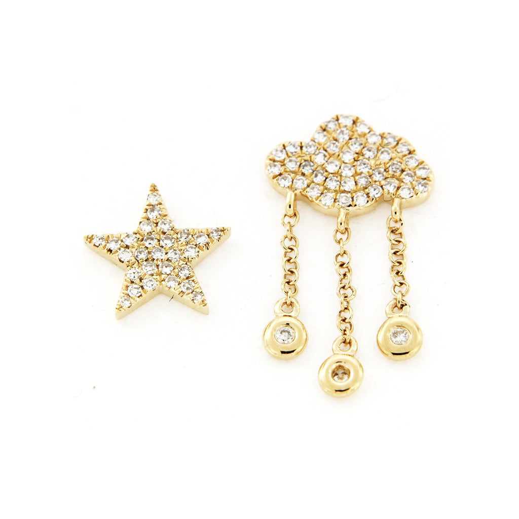 SALE Diamond Star And Cloud Earrings