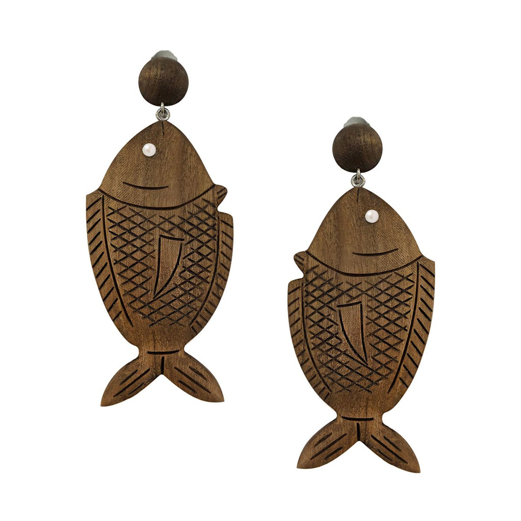 SALE Wooden Fish Clip On Earrings