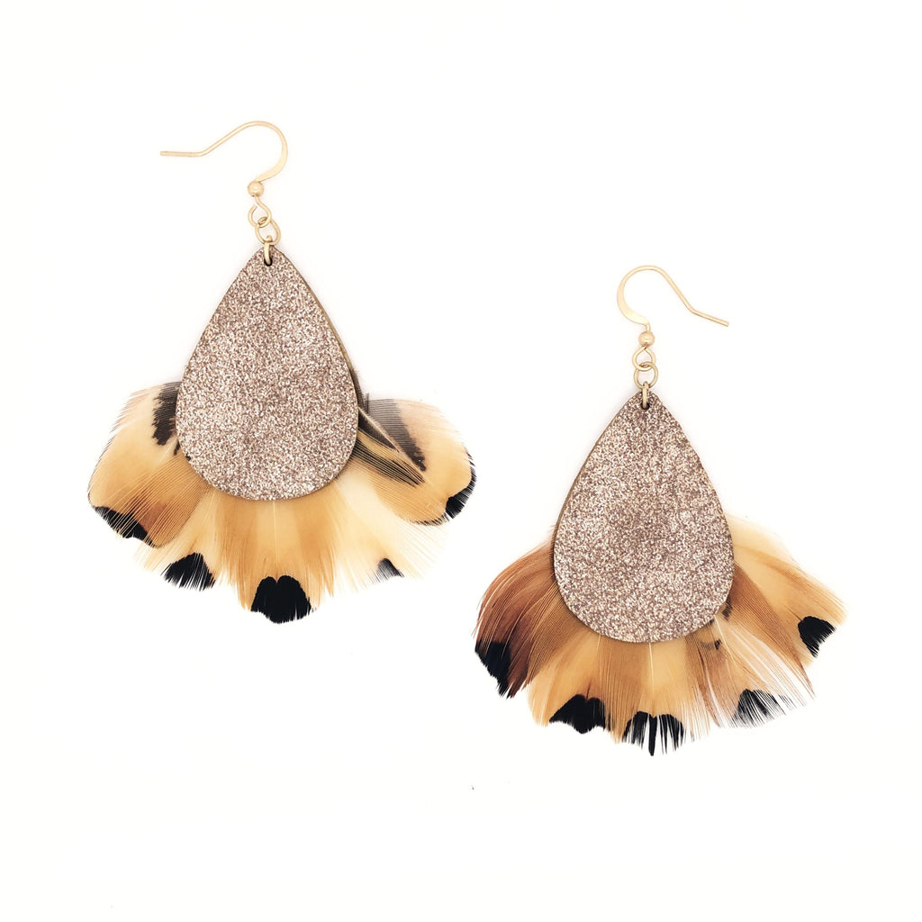 SALE Leopard Feather Earrings