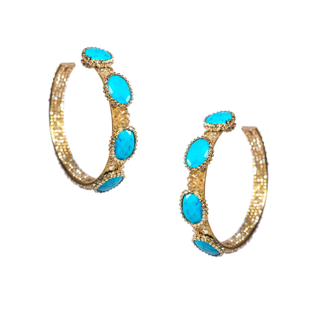 SALE Turquoise Hoop Earrings