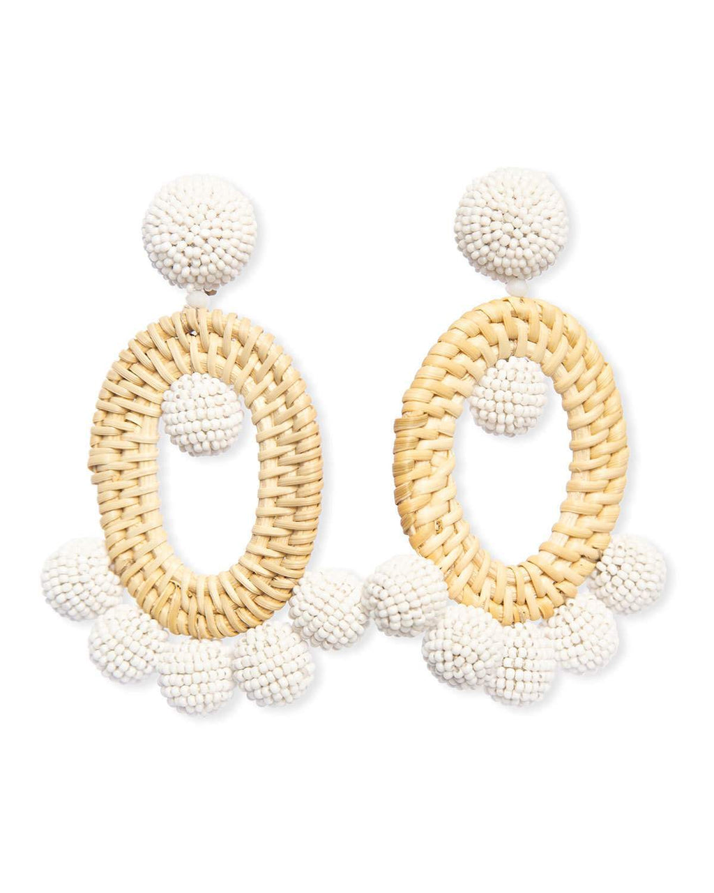 Raffia & Bead Clip On Earrings