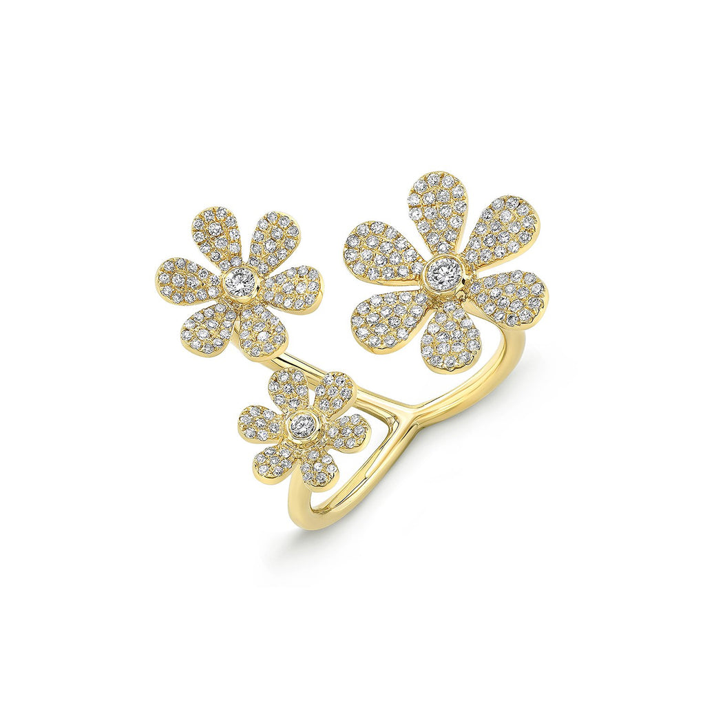 14 KT Gold & Pave diamond Flower Power Ring