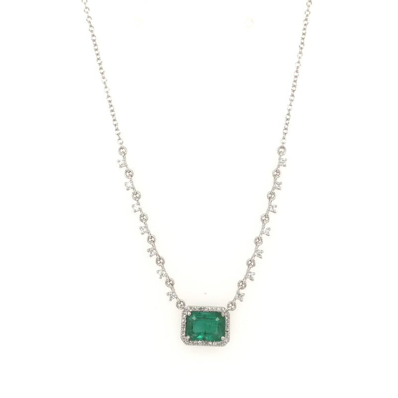 Diamond & Emerald Rectangle Necklace