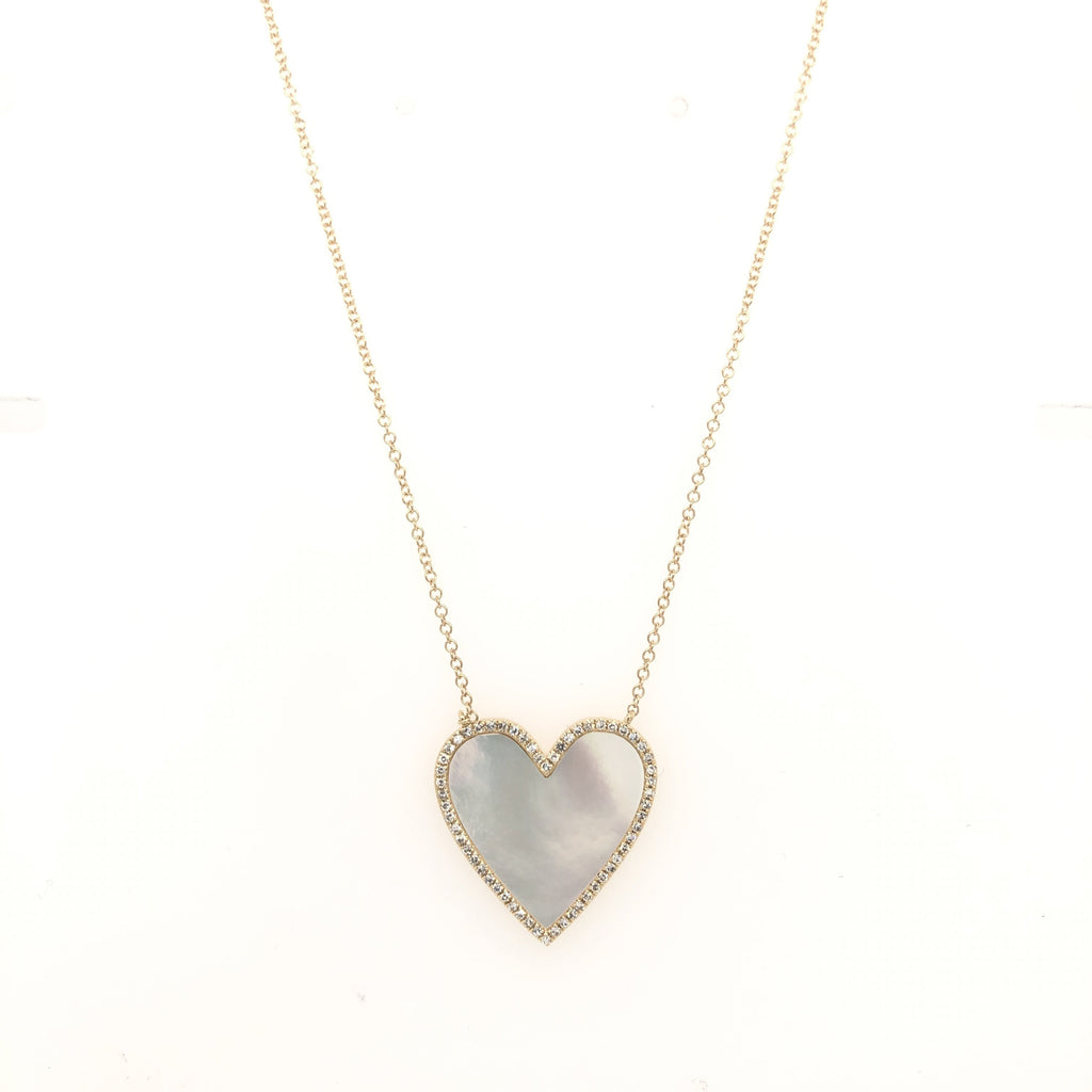 Diamond Pearl Heart Necklace