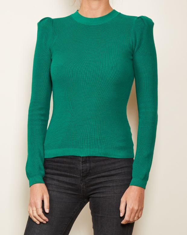 Green Puff Shoulder Sweater