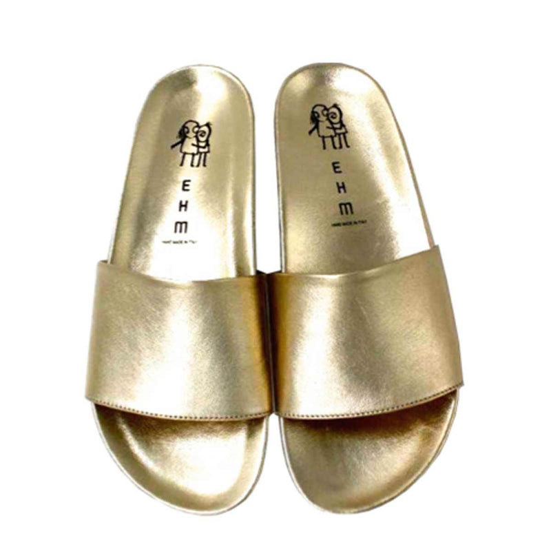 Gold Leather Flip Flops