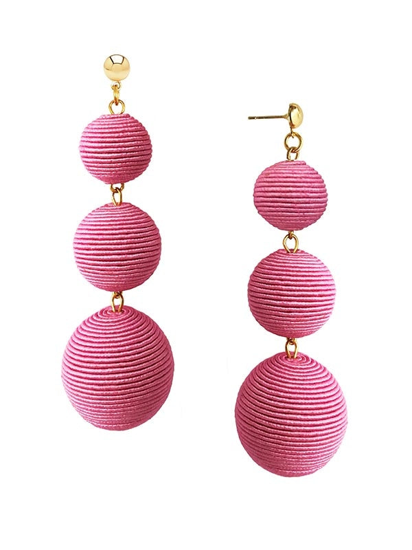 SALE Pink Triple Drop Earrings
