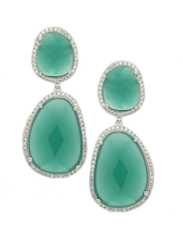 Green Double Drop Earrings