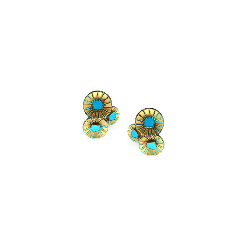 Triple Fan Clip On Earrings