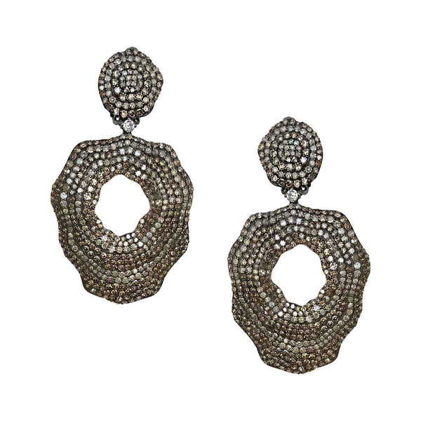Diamond Organic Clip On Earrings
