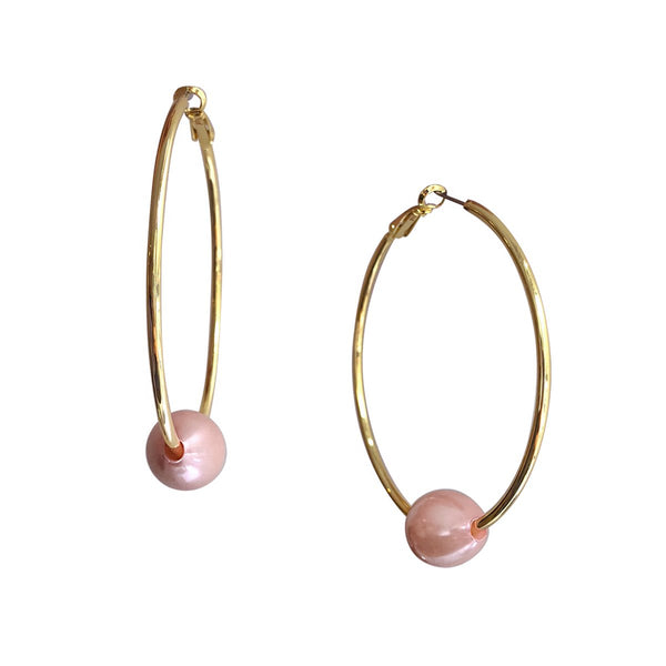 Faux Pink Pearl Hoop Earrings