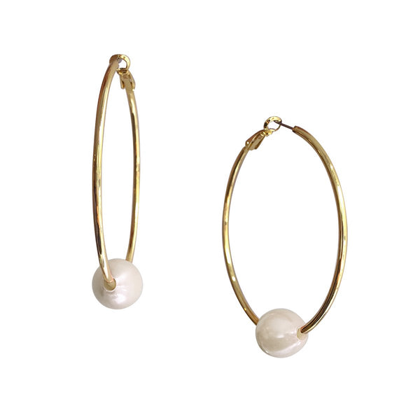 Faux White Pearl Hoop Earrings