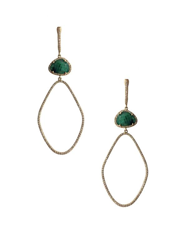 Diamond & Emerald Drop Earrings