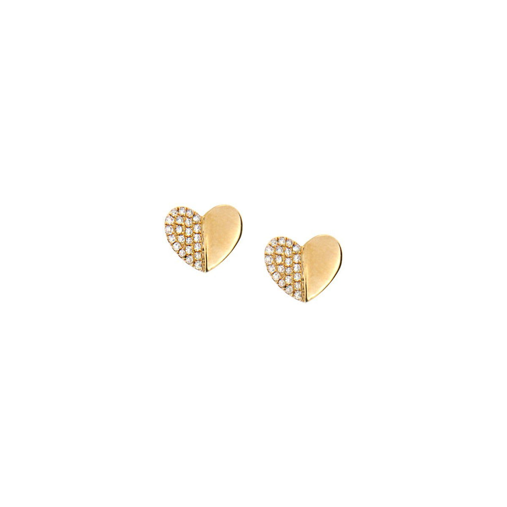 SALE Diamond Heart Stud Earrings