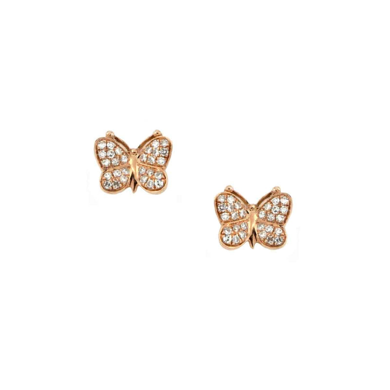 Diamond Butterfly Stud Earrings
