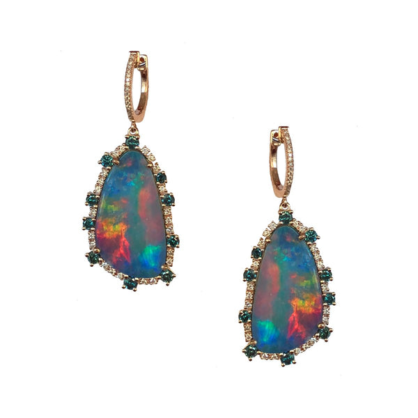 Opal & Diamond Teardrop Earrings