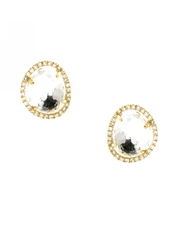 Diamond & Topaz Stud Earrings