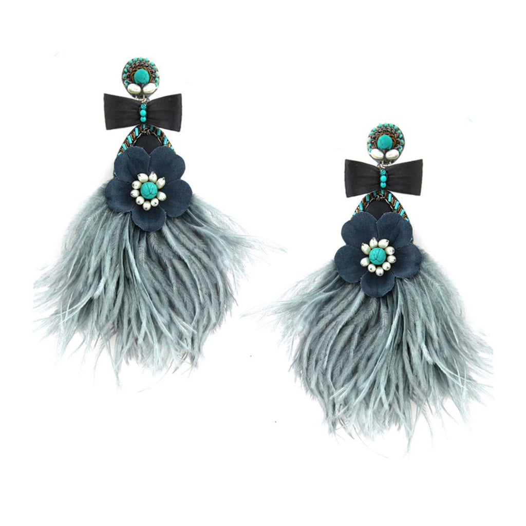 Feather & Flower Clip On Earrings