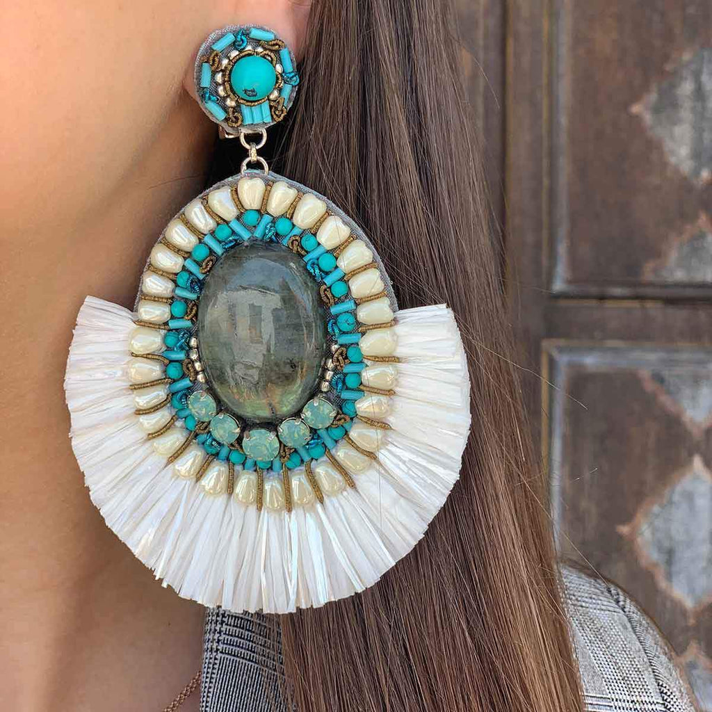 SALE White Fringe Clip On Earrings
