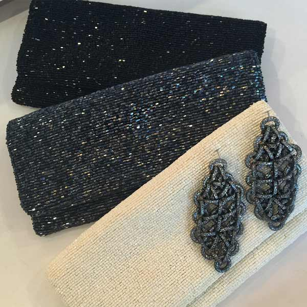 Gunmetal Beaded Clutch