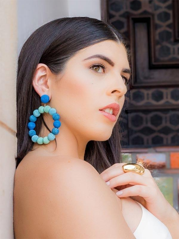 SALE Large Blue Ombre Earrings