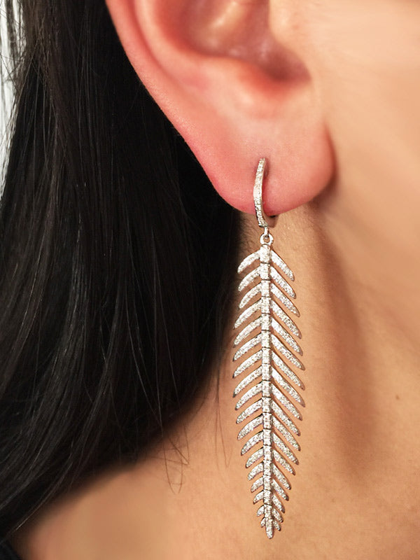 Diamond Feather Earrings