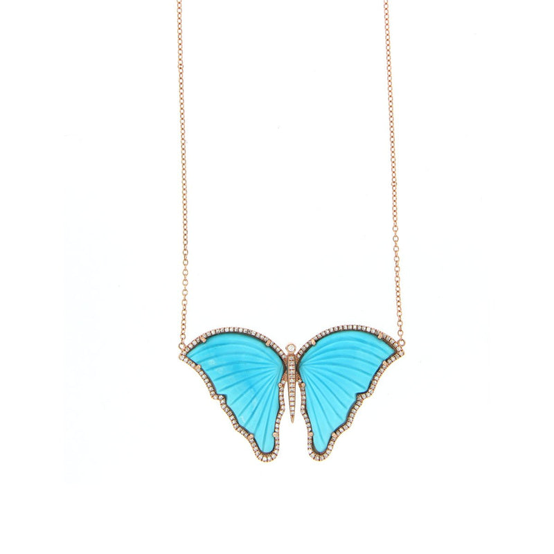 Turquoise & Diamond Butterfly Necklace