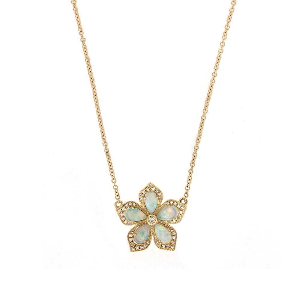 Diamond & Opal Flower Necklace